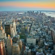 Aerial view over lower Manhattan New York - 图库照片