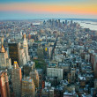 Stock Photo: Aerial view over lower Manhattan New York