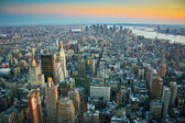 Aerial view over lower Manhattan New York — 图库照片