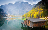 Braies lake hut — Stockfoto