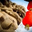 Lion and lanterns — Stock Photo