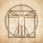 Постер, плакат: Technical Minimalistic Vitruvian Man