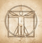 Technical Minimalistic Vitruvian Man — Stock Photo