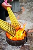 Prayers Lighting Incense Sticks — Stock Photo