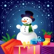Christmas card with snowman and gifts — Stockvectorbeeld