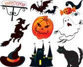 Abstract Halloween symbols — Stock Vector