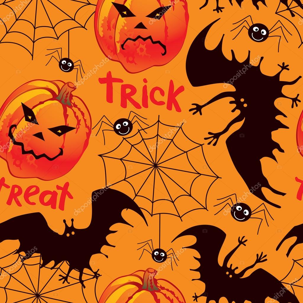 Halloween seamless background with pumpkin, bat, and spiders — Векторная иллюстрация #12647469