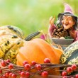 Halloween decor with a witch - Stock Photo