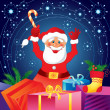Christmas card with Santa Claus and gifts — Stock Vector #13842766