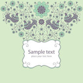 декоративные цветочные открытка с рамкой — Cтоковый вектор