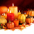 Candle and pumpkins — Stock Photo