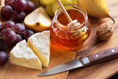 Cheese with Honey — Stock Photo