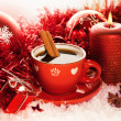 Red Christmas tea cup — Stock Photo