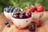 Summer berries in bowls — Stock Photo