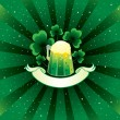 Patrick background with beer and shamrock — Stock Vector #8897405