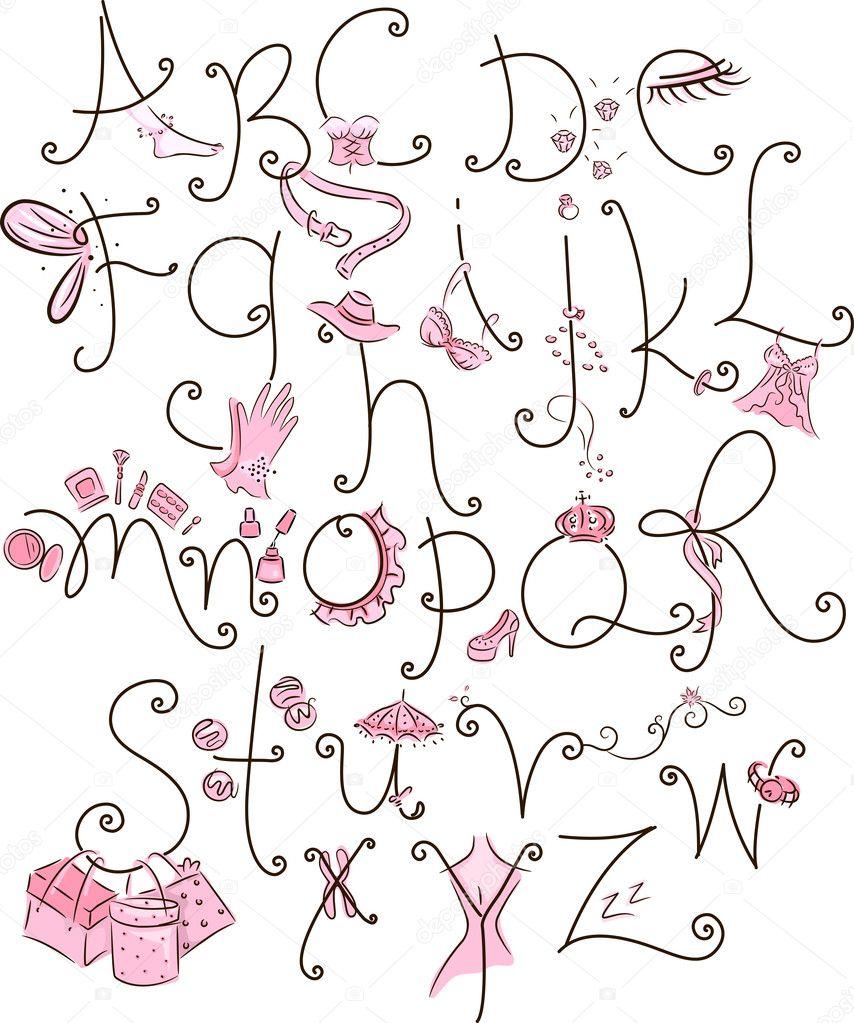 Cool Girly Fonts Alphabet Depositphotos_11129246-girly- ...