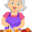 Senior Slicing Veggies — Stock Photo