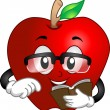 Apple Reading a Book - Stok fotoraf
