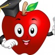 Apple Mascot Graduate — Stock Photo