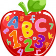 Apple Filled with Letters and Numbers - Stok fotoraf