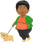 Senior Taking Dog for a Walk — Stock Photo