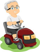Senior Lawn Mower — Stock Photo