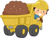 Dump Truck Kid — Stock Photo