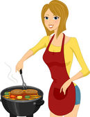 Grill Girl — Stock Photo