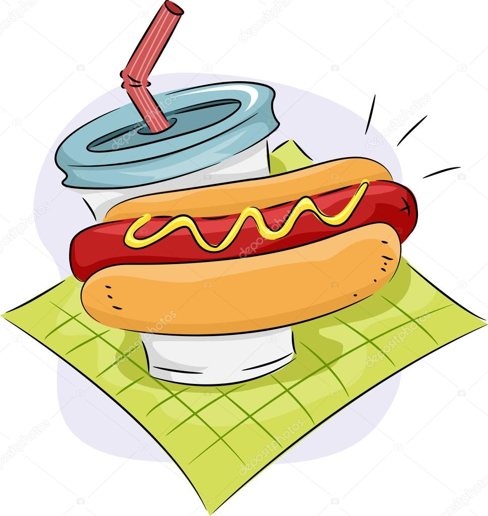Hot Dog Icon Hotdog sandwich and drink icon
