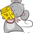 Mouse Eating Cheese — Foto de Stock