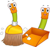 Broom and Dustpan Mascots — Stock Photo