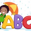 Stickman Umbrella Alphabet — Stock Photo