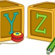 Wood Blocks YZ — Stock Photo