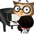 Pianist Owl — Stock Photo