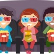 图库照片: 3D Glasses Kids