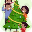 Family Christmas Tree — Stock Photo