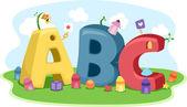 Lápices de colores, formas y letras — Foto de Stock