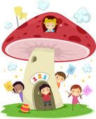 Mushroom school — Stockfoto