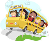 Stickman Schoolbus — Stock Photo