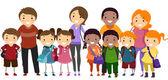 Schoolkinderen en hun ouders — Stockfoto