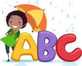 Stickman Umbrella Alphabet — Stock Photo