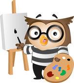 Owl Painter — Fotografia Stock