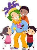 Bambini clownerie intorno — Foto Stock