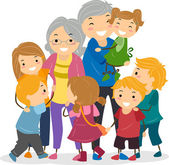 Kids and Their Grandparents — Stock Photo