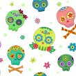 Seamless Sugar Skulls - Stock Photo