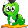 Bookworm Mascot Graduate — Stock Photo