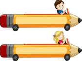 Pencil Car Banner — Stock Photo
