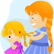 Big Sister Braids — Stock Photo
