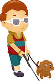 Blind Boy with Dog — Stock Photo