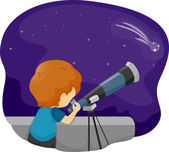 Telescope Kid — Stock Photo